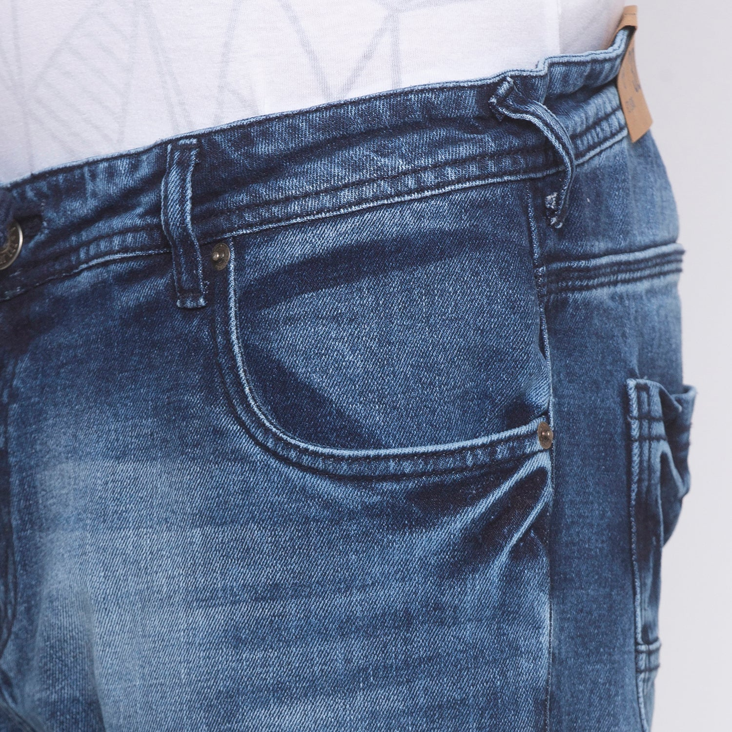 Faded Slim Fit Blue Denims-5