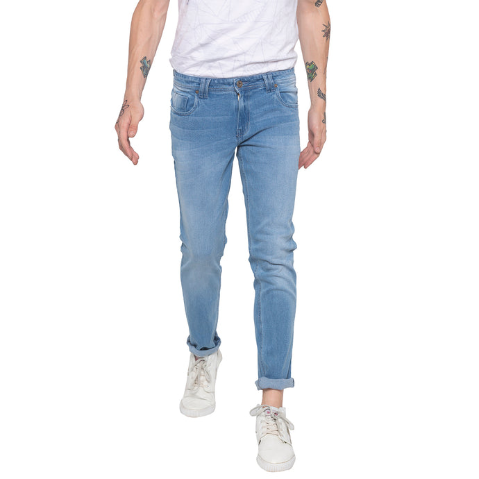 Faded Sky Blue Slim Fit Denims-1
