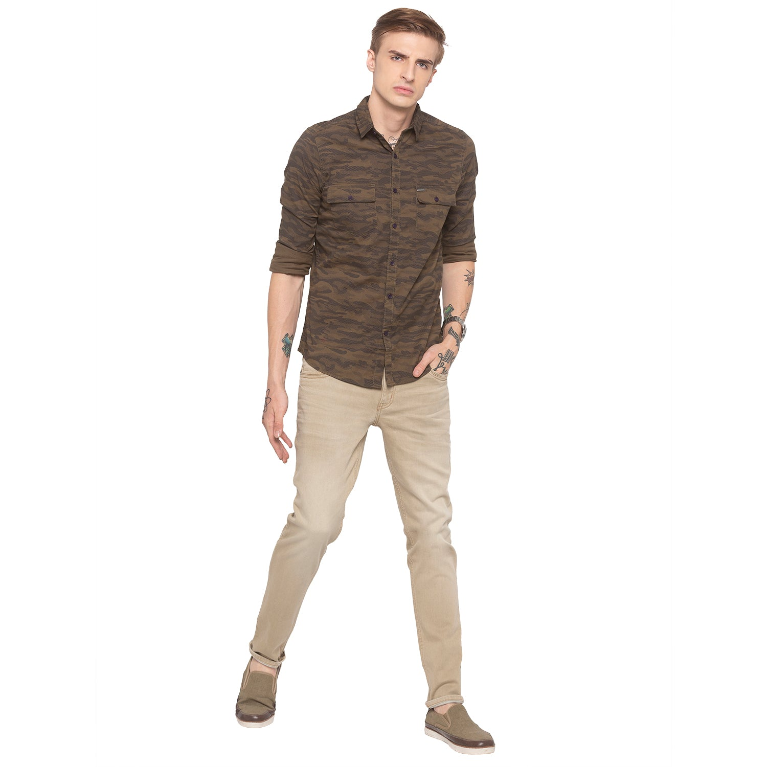 Solid Slim Fit Khaki Denims-4