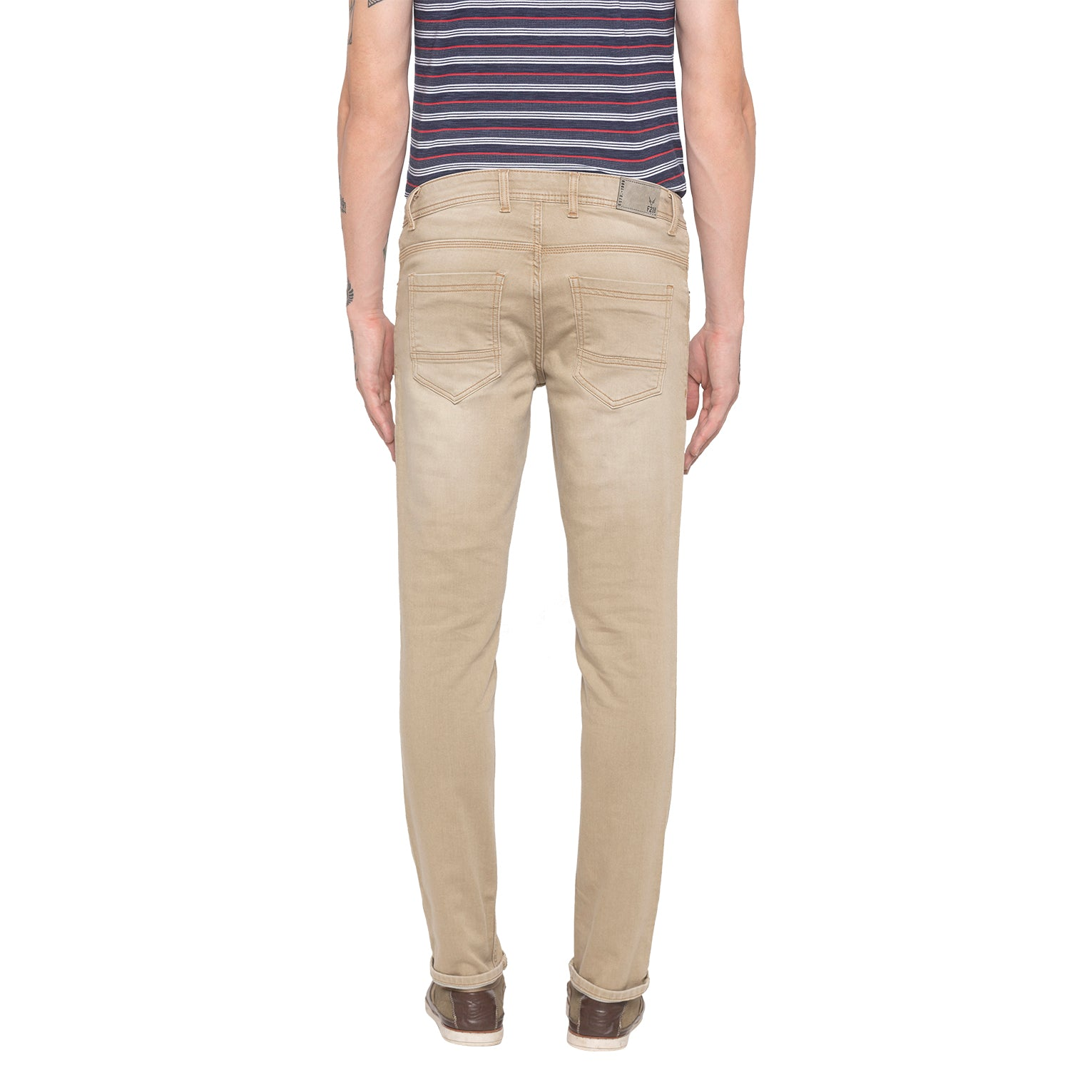 Solid Slim Fit Khaki Denims-3