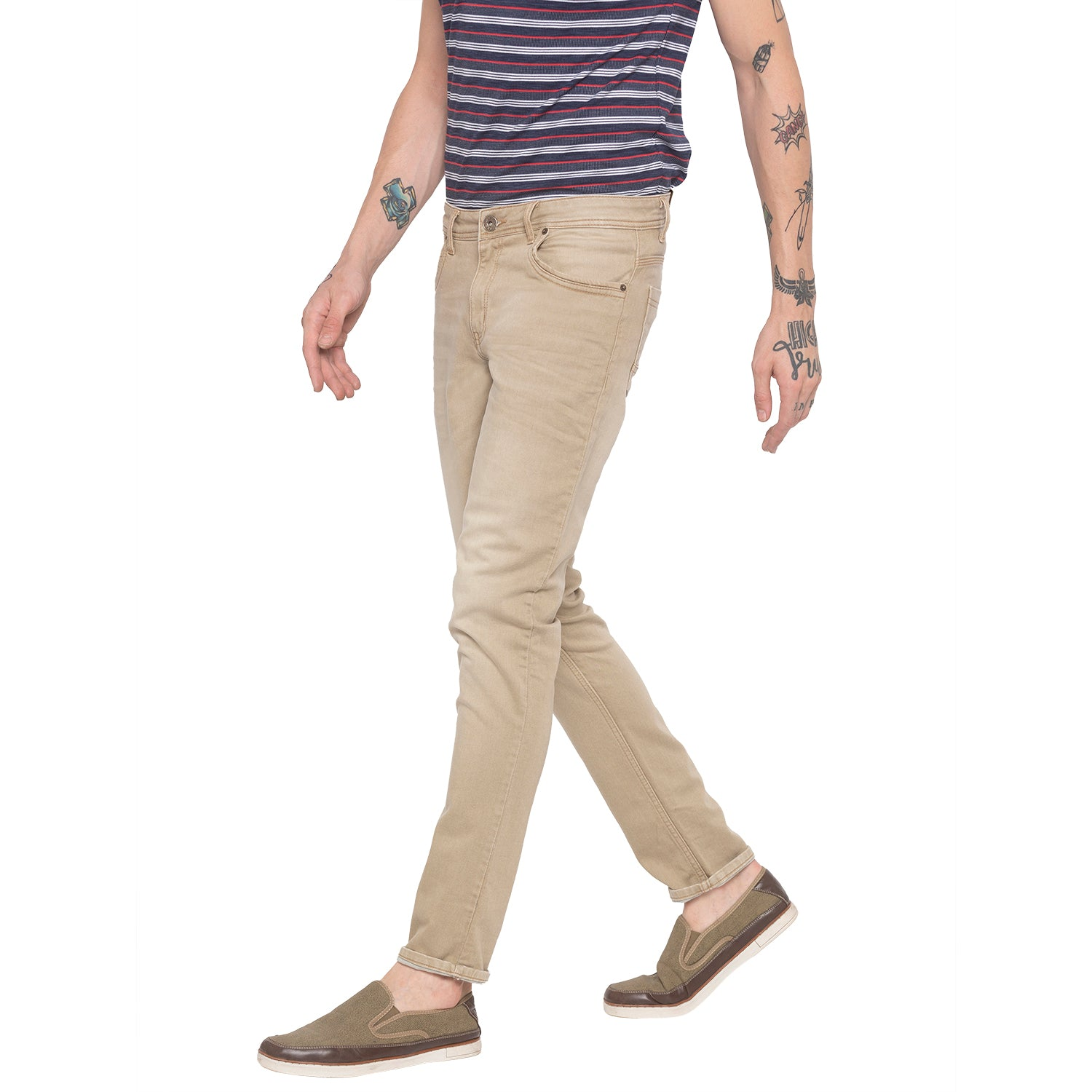 Solid Slim Fit Khaki Denims-2