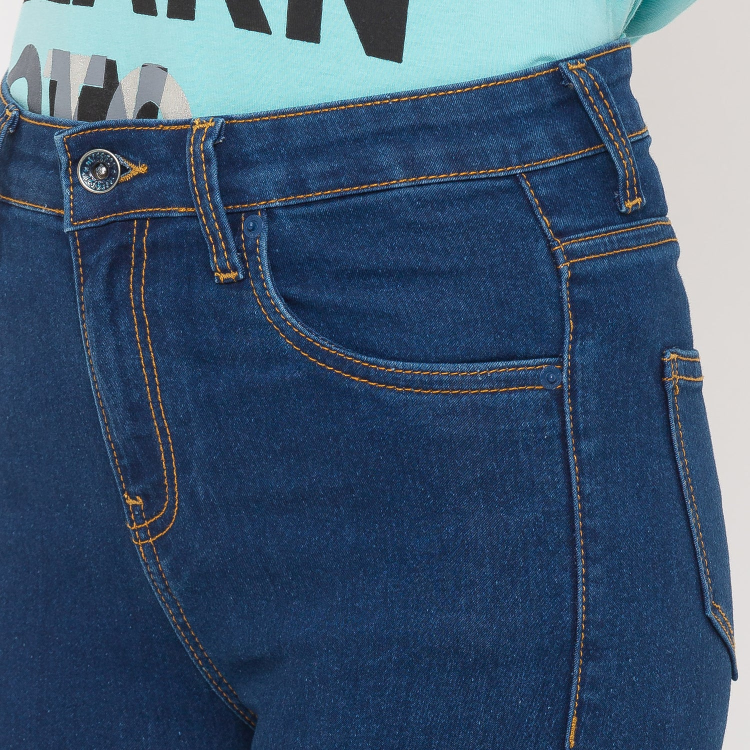 Globus Blue Solid Jeans-5