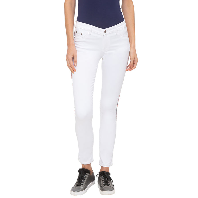 Globus White Solid Jeans-1