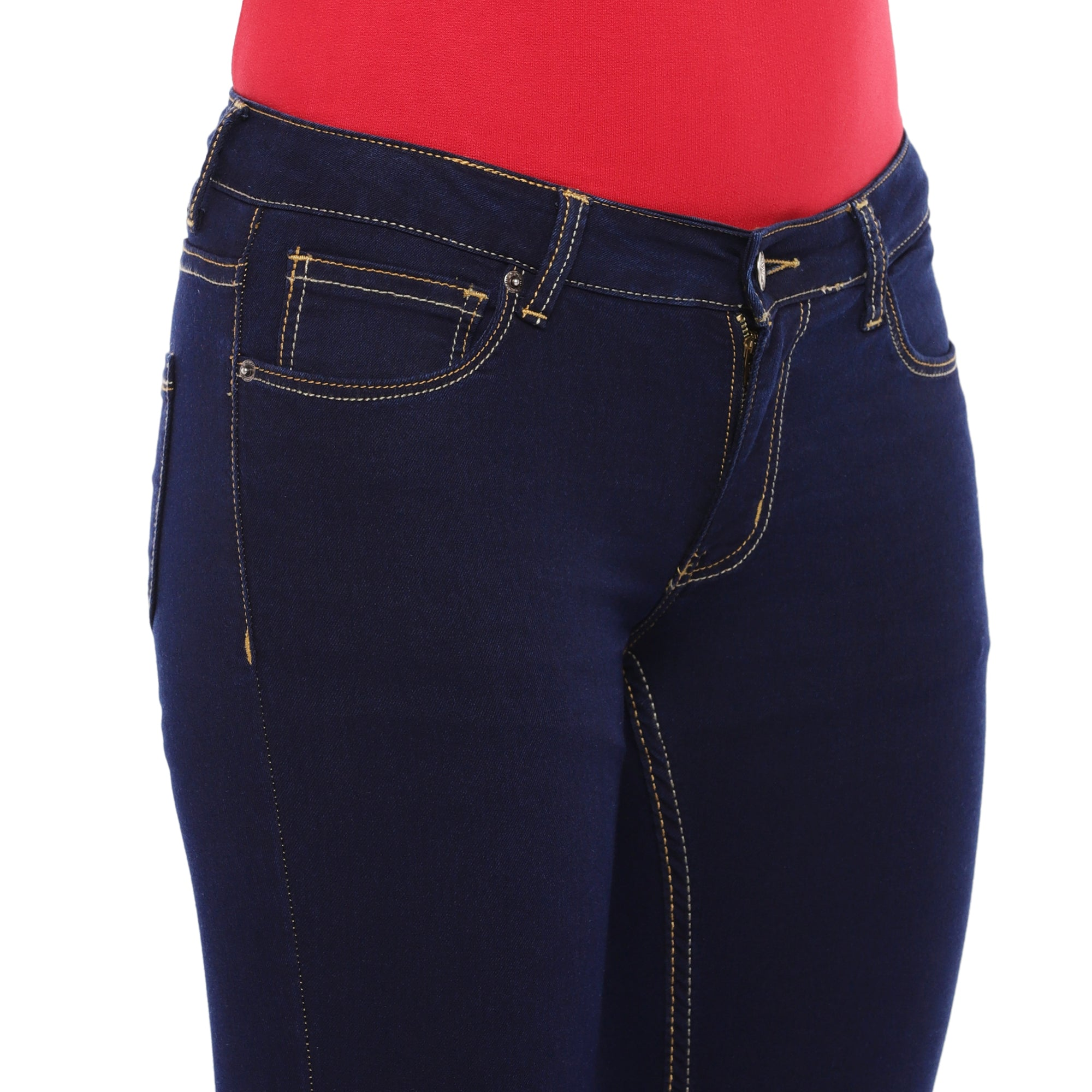 Blue Slim Fit Mid Rise Clean Look Jeans-5