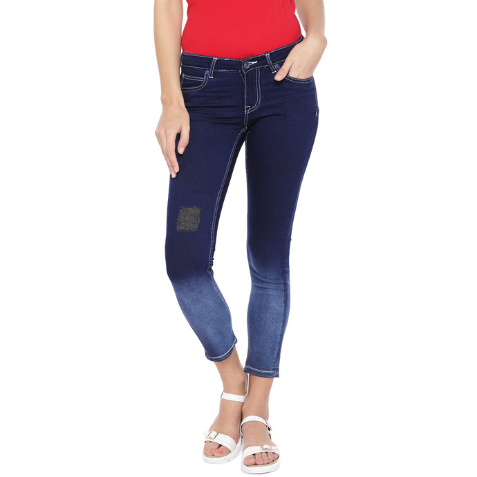 Blue Slim Fit Mid-Rise Low Distress Jeans-1