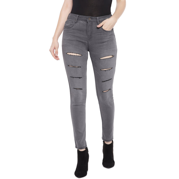 Grey Slim Fit Mid Rise Mildly Distressed Jeans-1