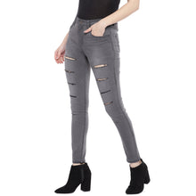 Load image into Gallery viewer, Grey Slim Fit Mid Rise Mildly Distressed Jeans-2