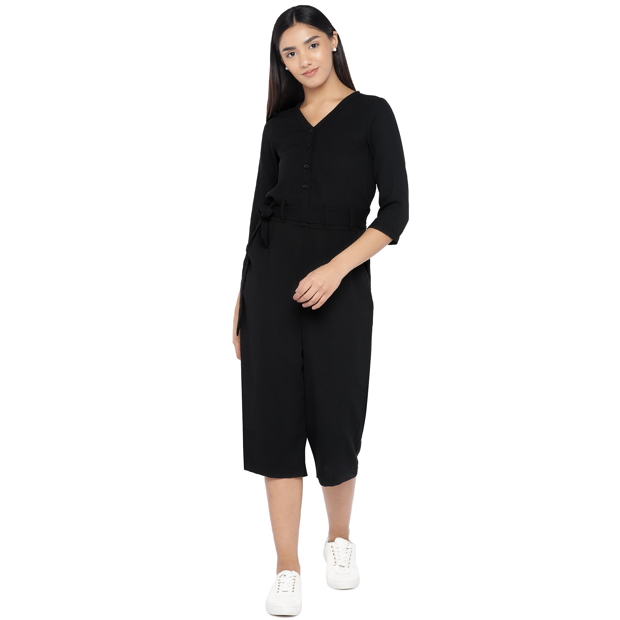 Black Solid Culotte Jumpsuit-1