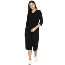 Load image into Gallery viewer, Black Solid Culotte Jumpsuit-1