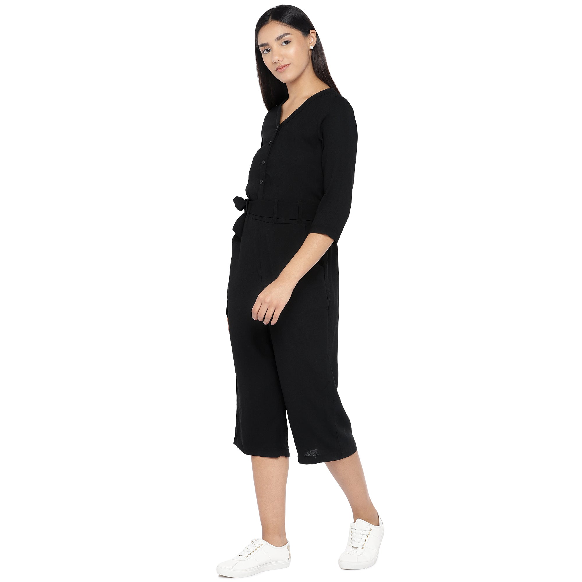 Black Solid Culotte Jumpsuit-2