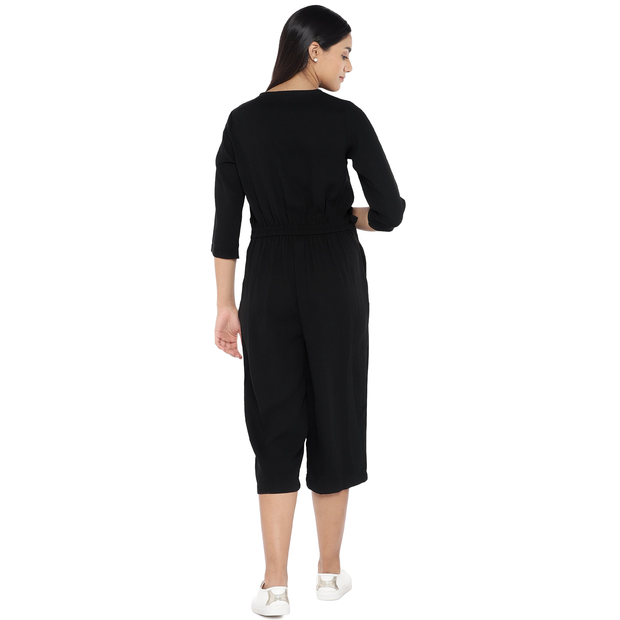 Black Solid Culotte Jumpsuit-3