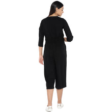Load image into Gallery viewer, Black Solid Culotte Jumpsuit-3