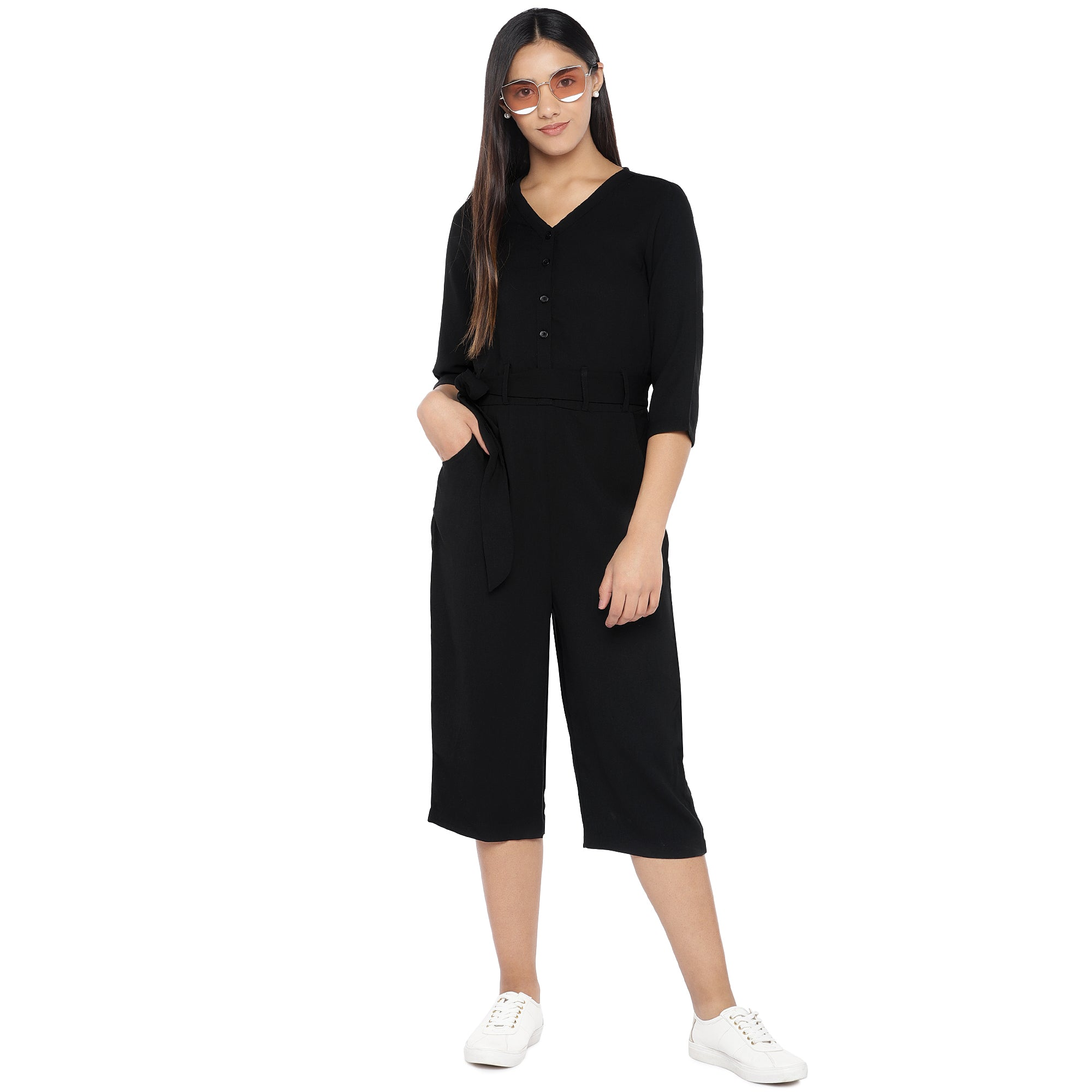 Black Solid Culotte Jumpsuit-4