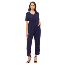 Load image into Gallery viewer, Globus Navy Blue Solid Jumpsuit-1