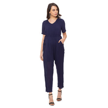 Load image into Gallery viewer, Globus Navy Blue Solid Jumpsuit-4