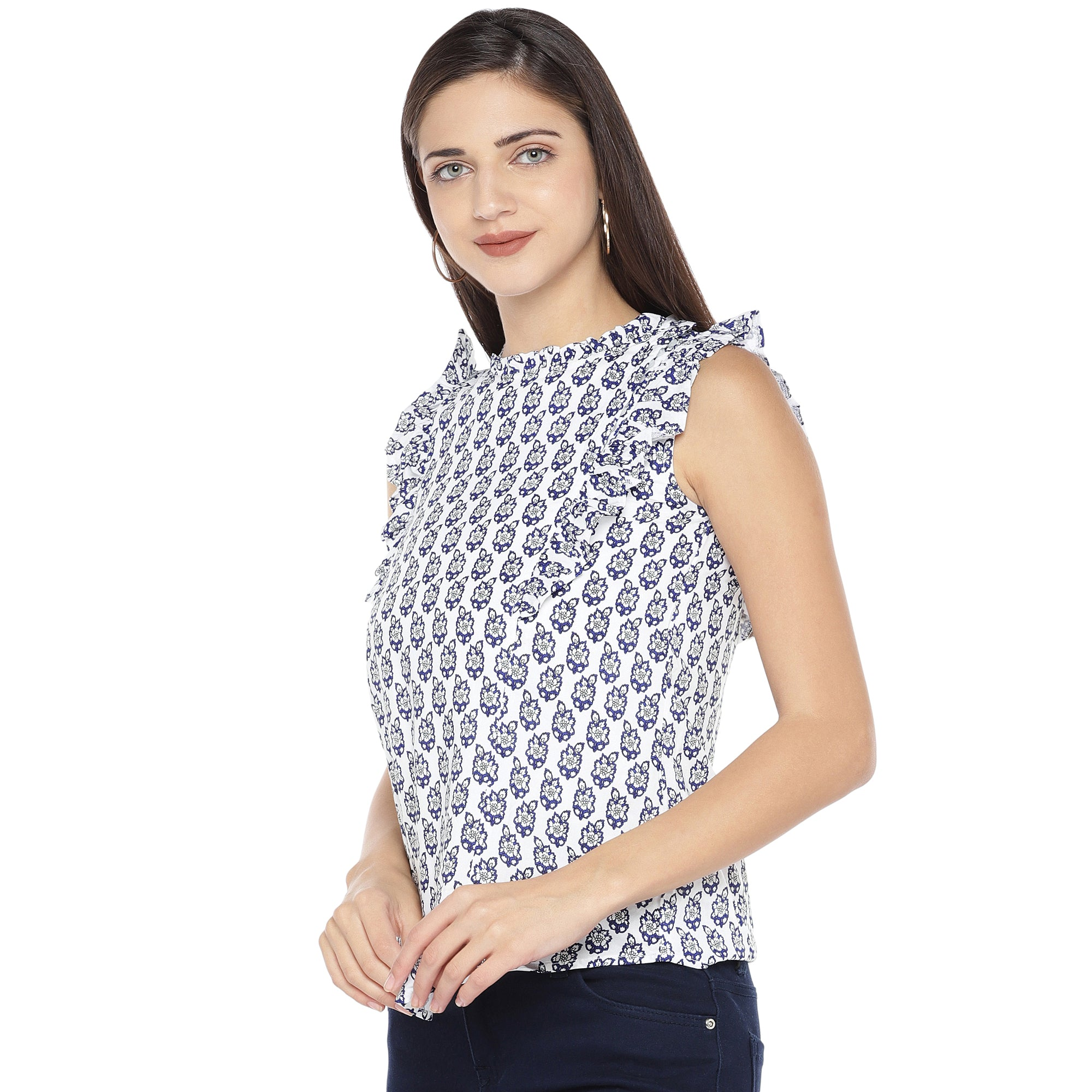 White & Blue Printed Top-2