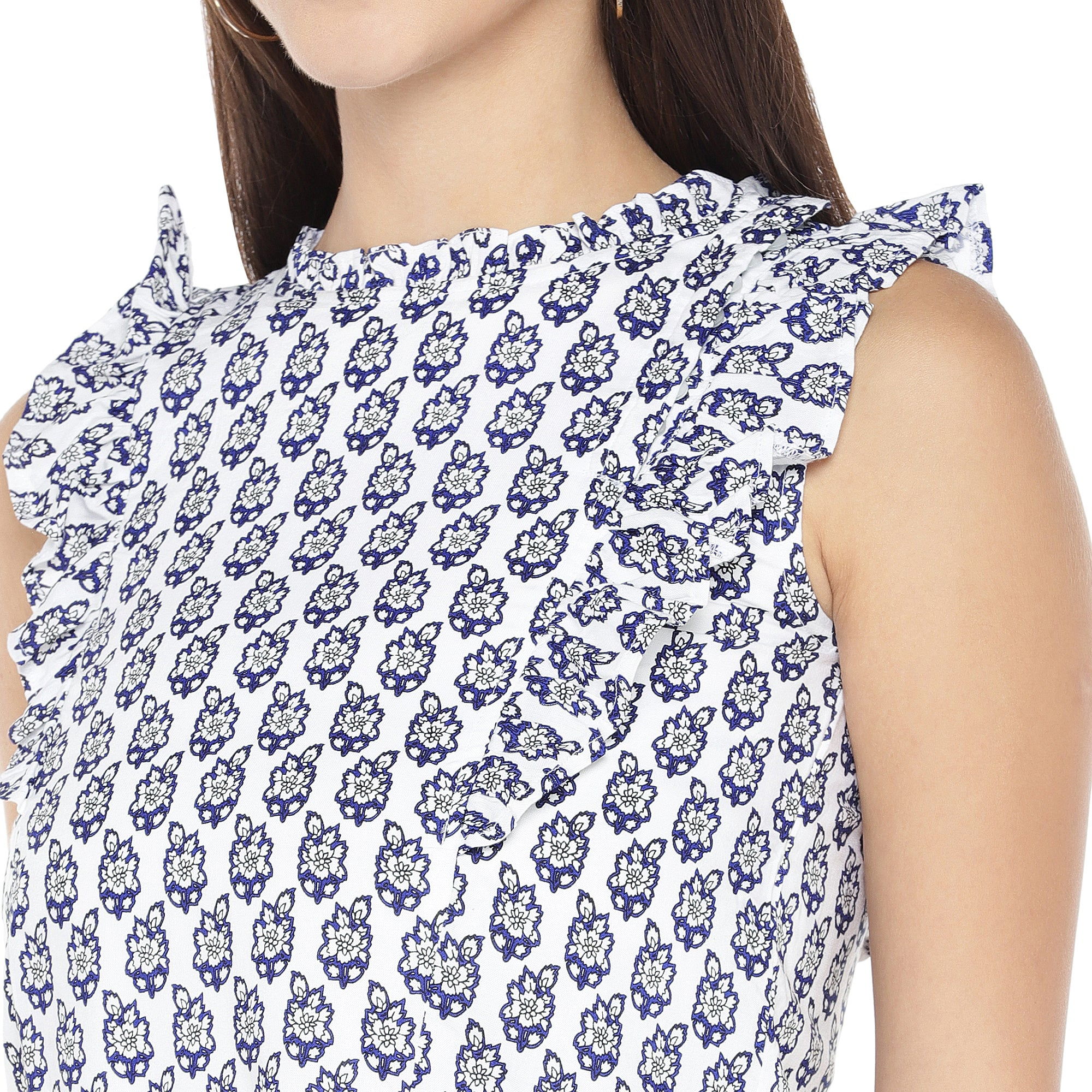 White & Blue Printed Top-5