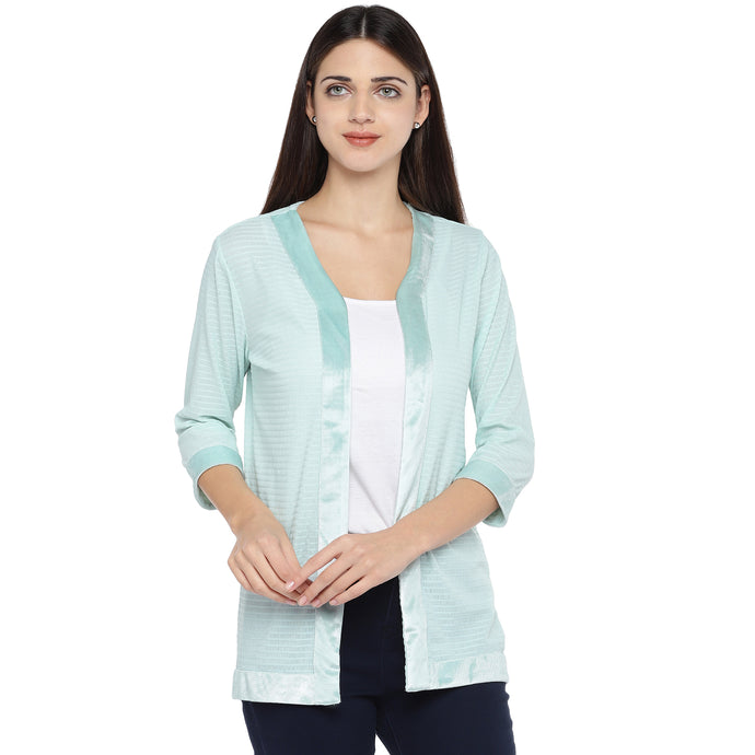 Sea Green Striped Open Front Shrug-1