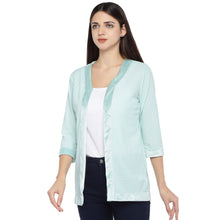 Load image into Gallery viewer, Sea Green Striped Open Front Shrug-2