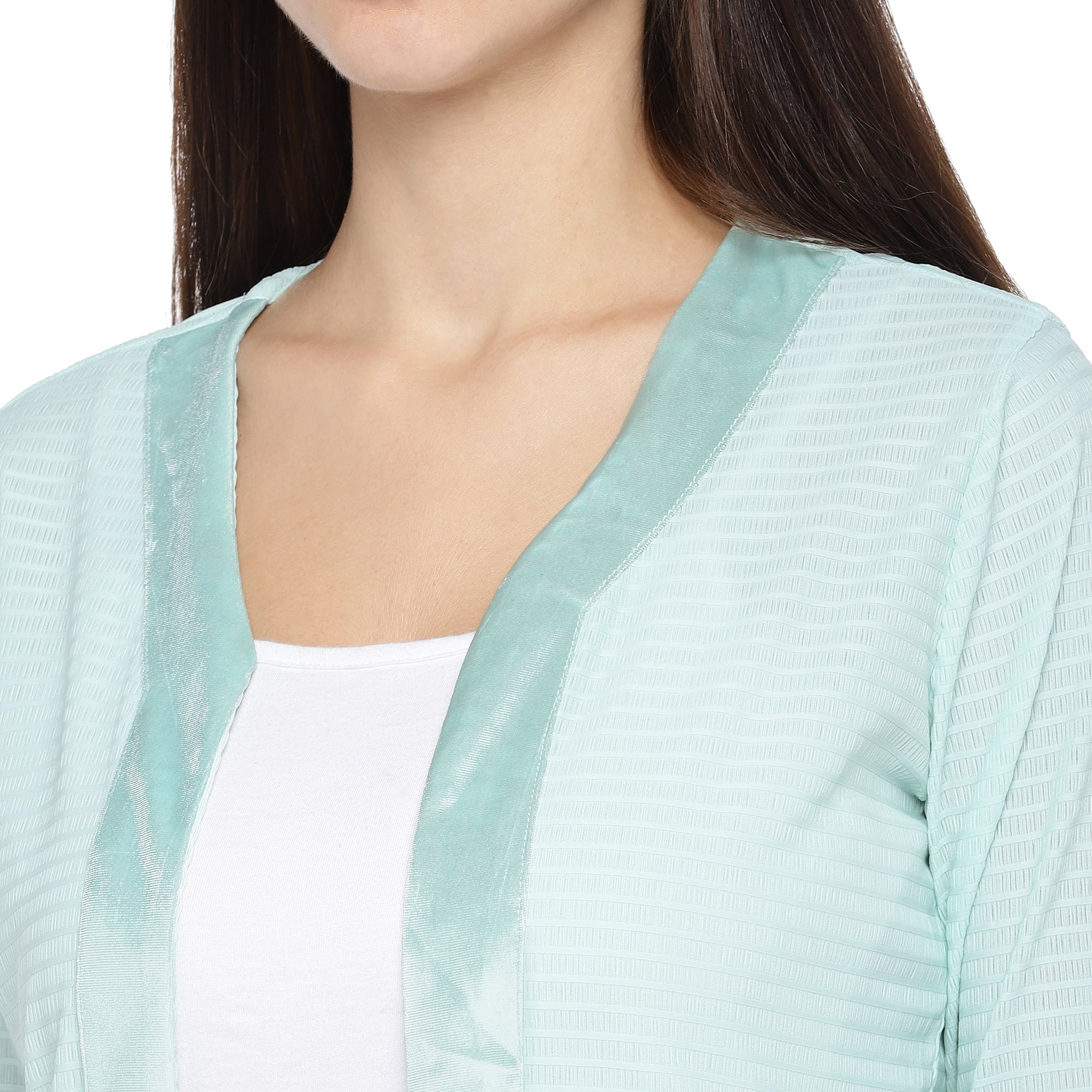 Sea Green Striped Open Front Shrug-5
