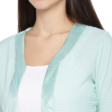 Load image into Gallery viewer, Sea Green Striped Open Front Shrug-5