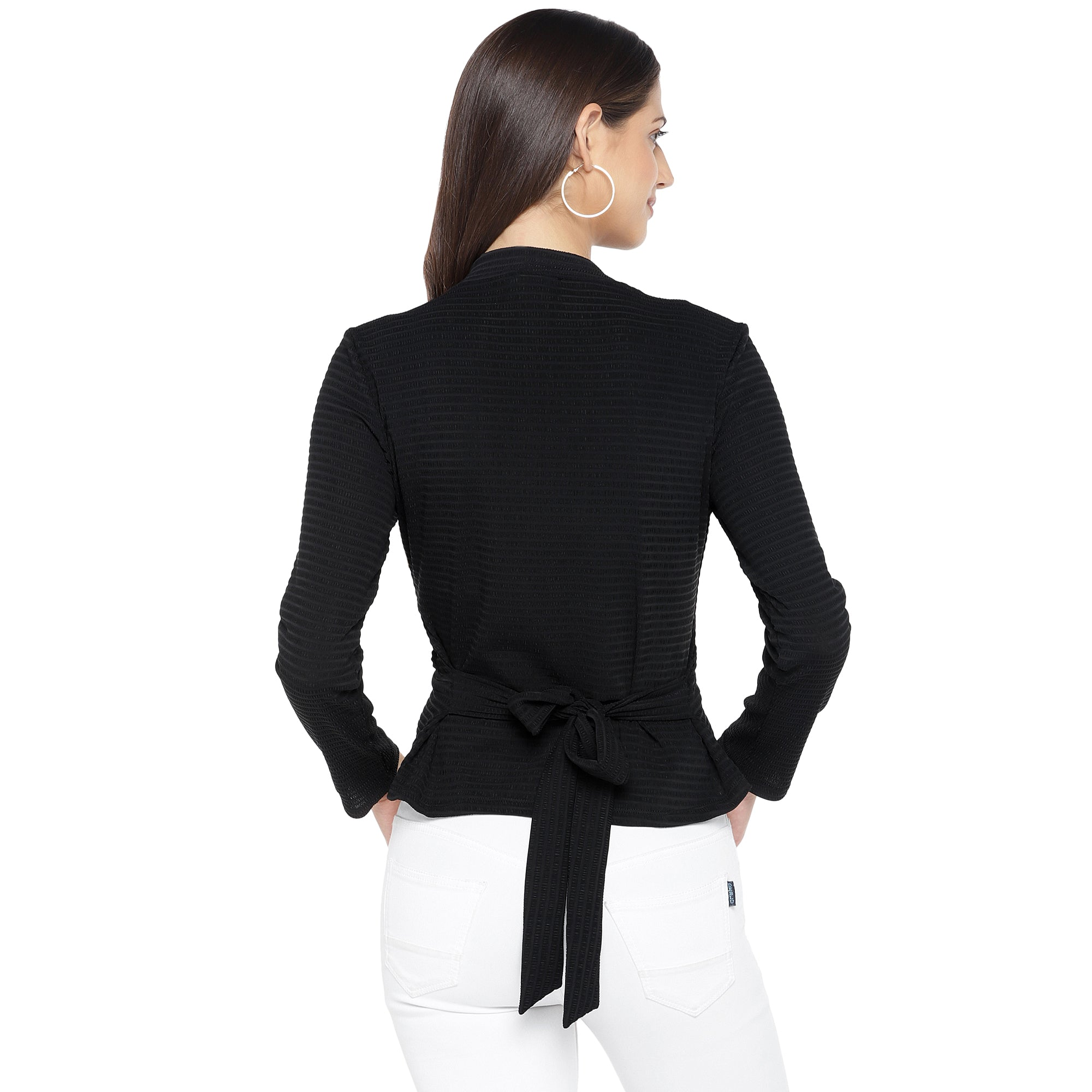 Black Solid Styled Back Top-3