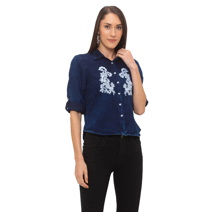Globus Blue Embroidered Shirt-1