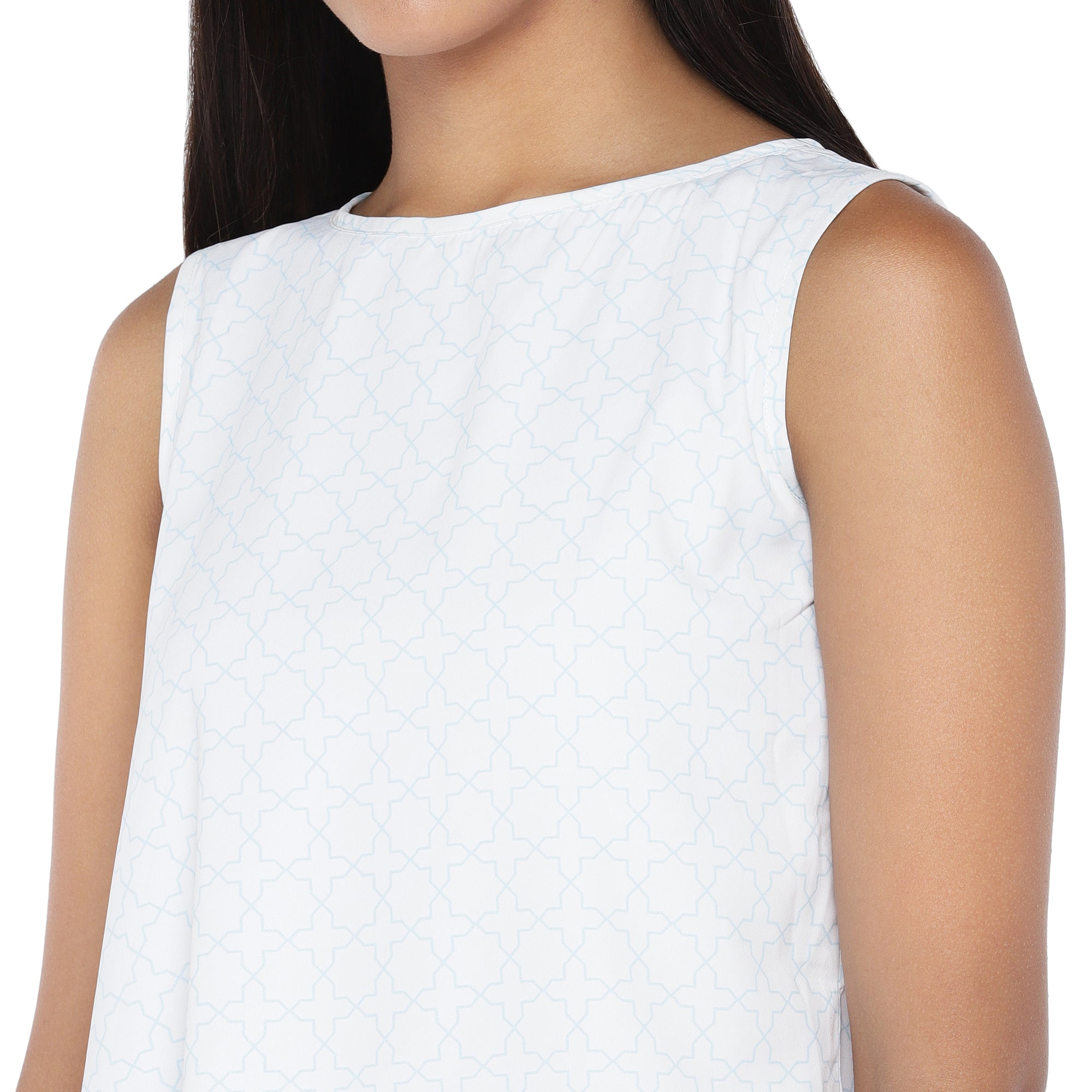 White Solid A-Line Top-5