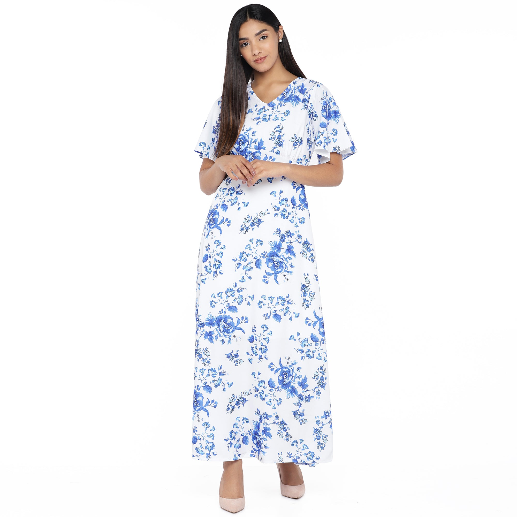 White Printed Maxi Dress-4