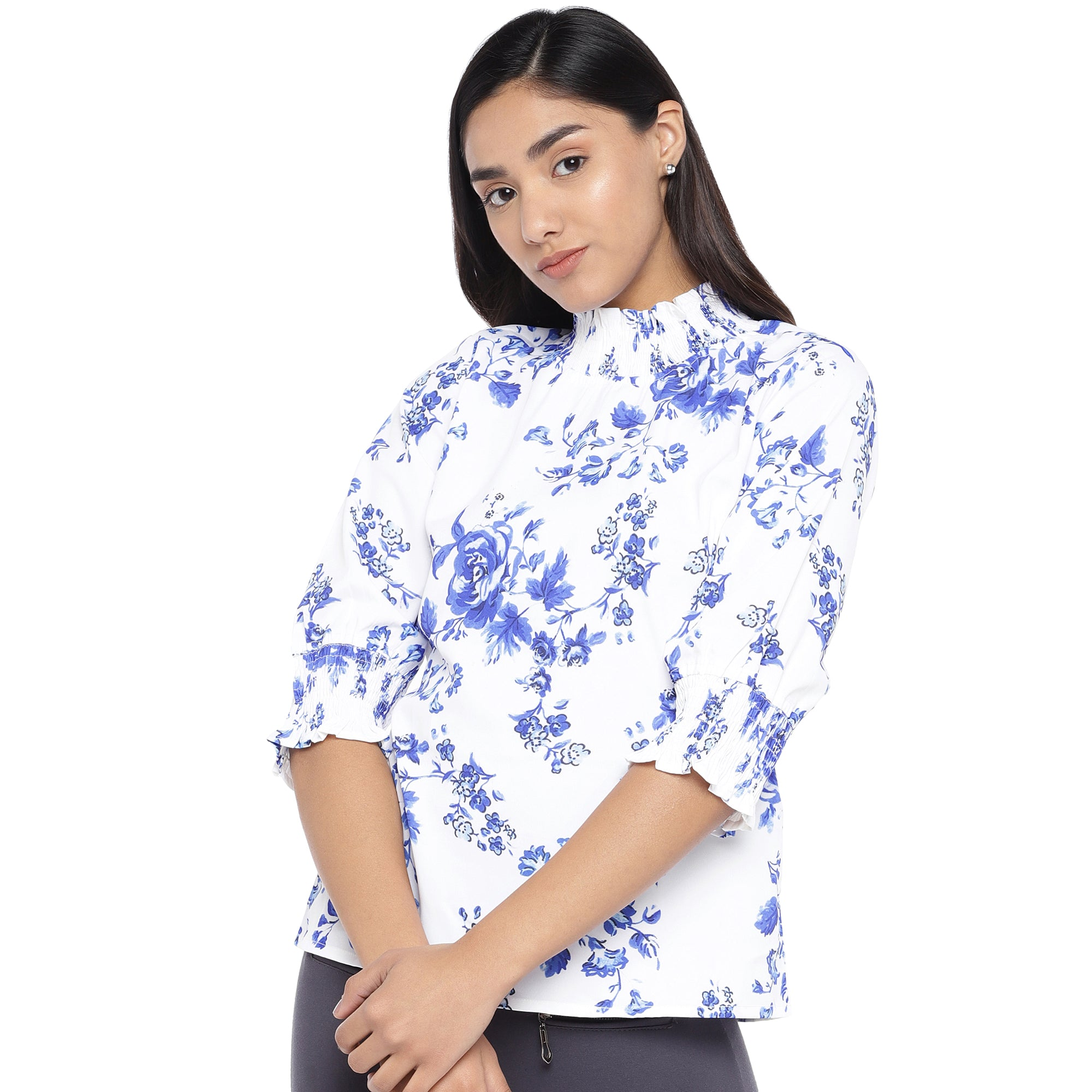 White & Blue Printed Top-1