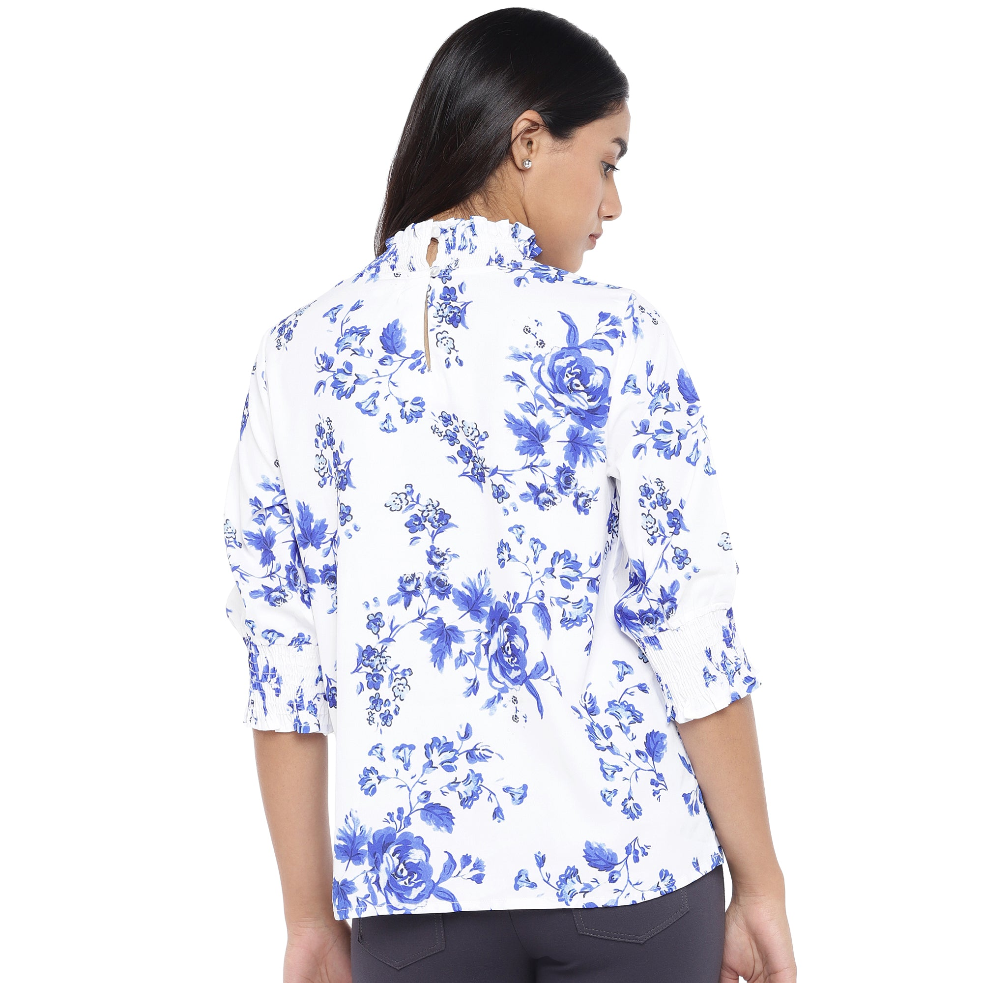 White & Blue Printed Top-3