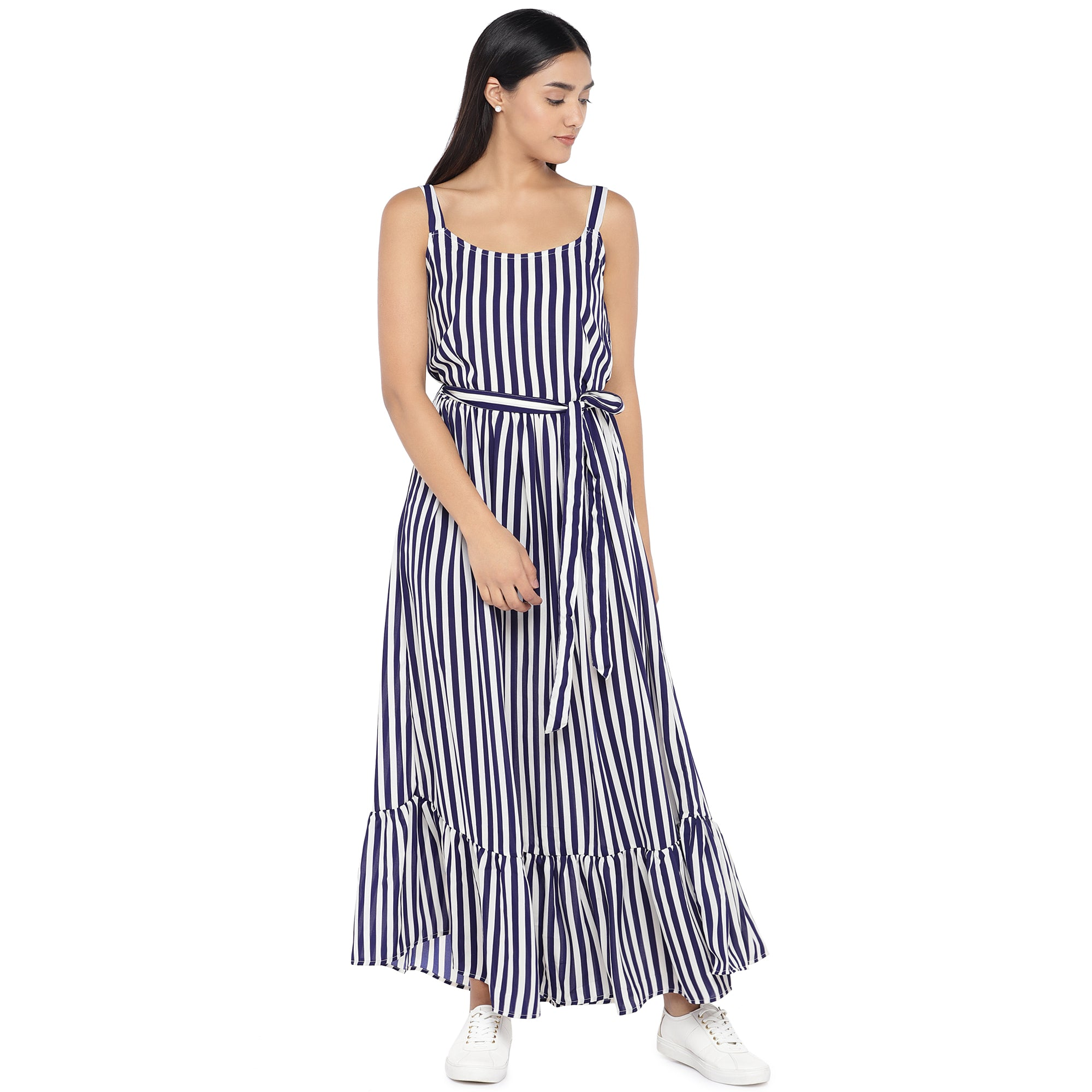 White & Navy Blue Striped Maxi Dress-1