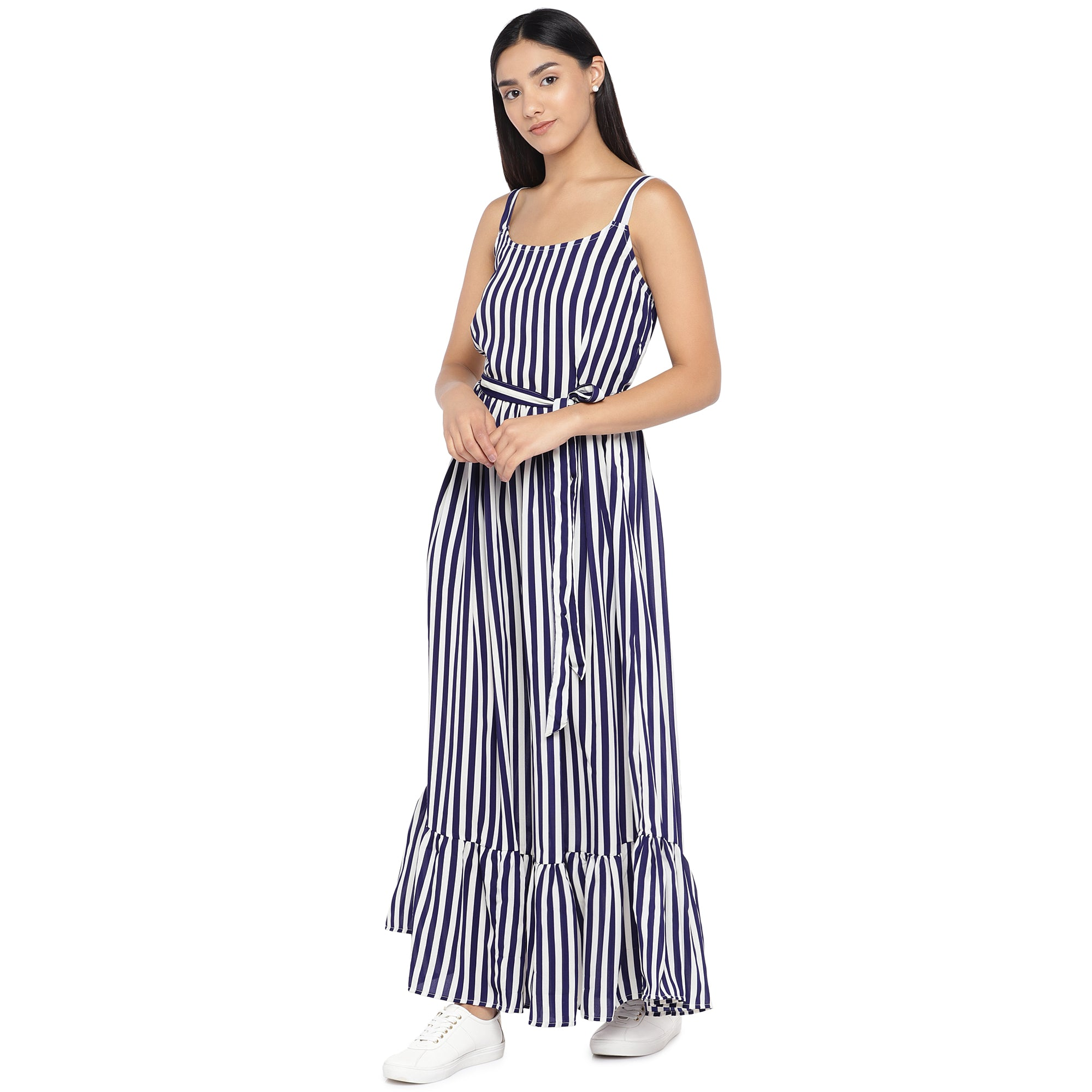 White & Navy Blue Striped Maxi Dress-2