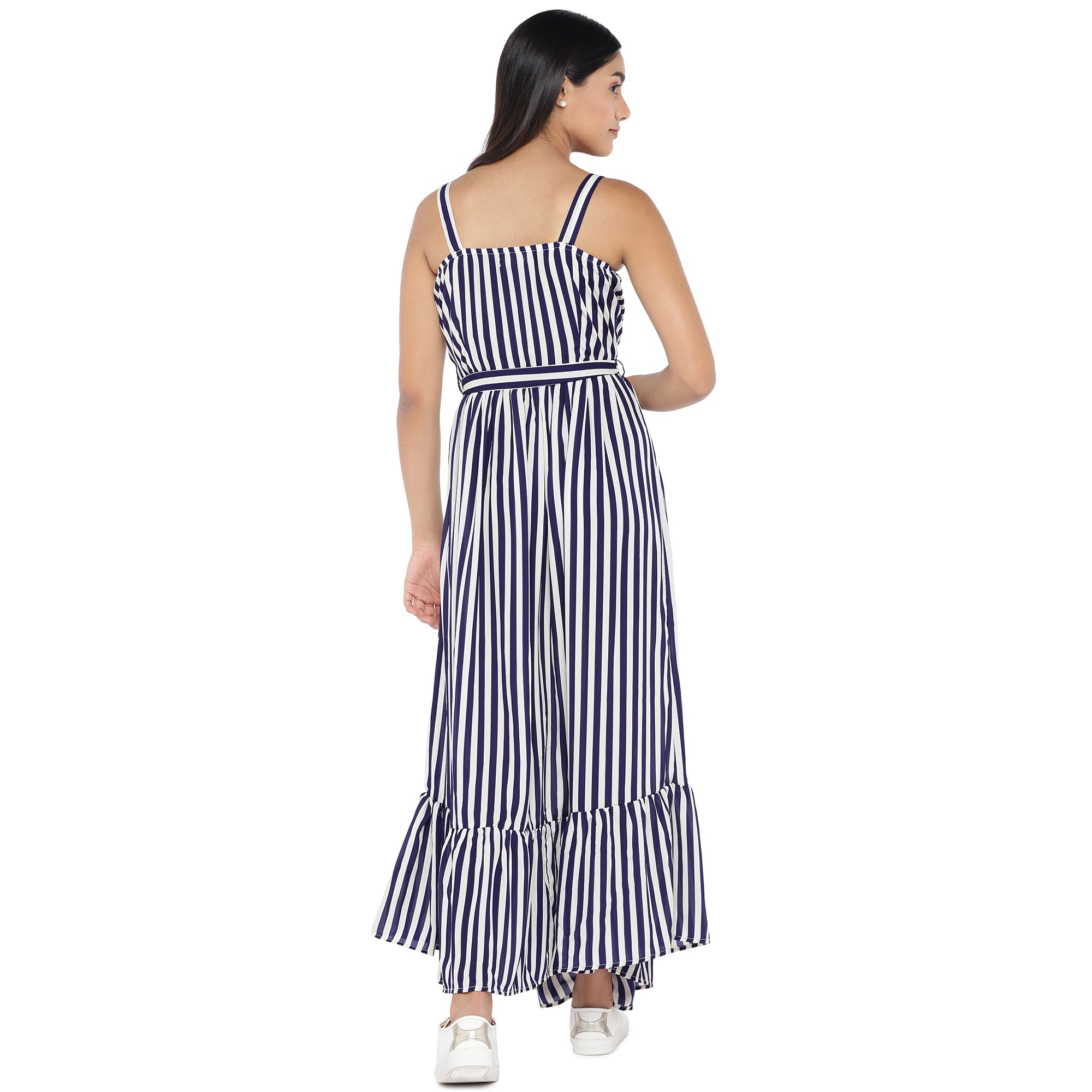 White & Navy Blue Striped Maxi Dress-3