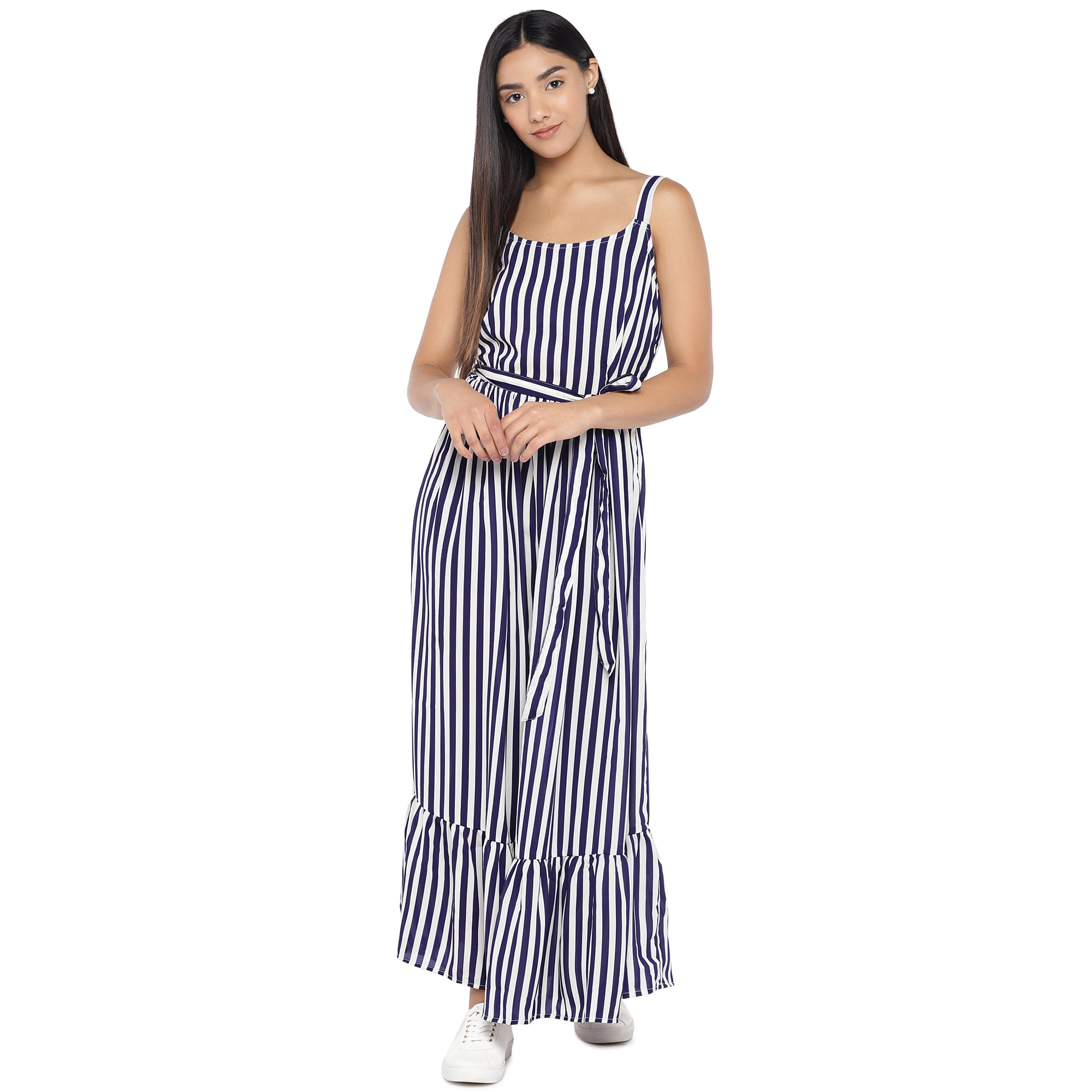 White & Navy Blue Striped Maxi Dress-4