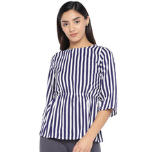 Load image into Gallery viewer, White & Navy Blue Striped Peplum Top-1