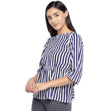 Load image into Gallery viewer, White & Navy Blue Striped Peplum Top-2