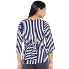 Load image into Gallery viewer, White & Navy Blue Striped Peplum Top-3