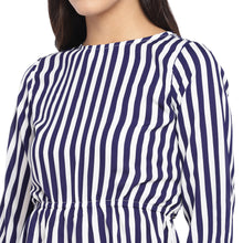 Load image into Gallery viewer, White & Navy Blue Striped Peplum Top-5
