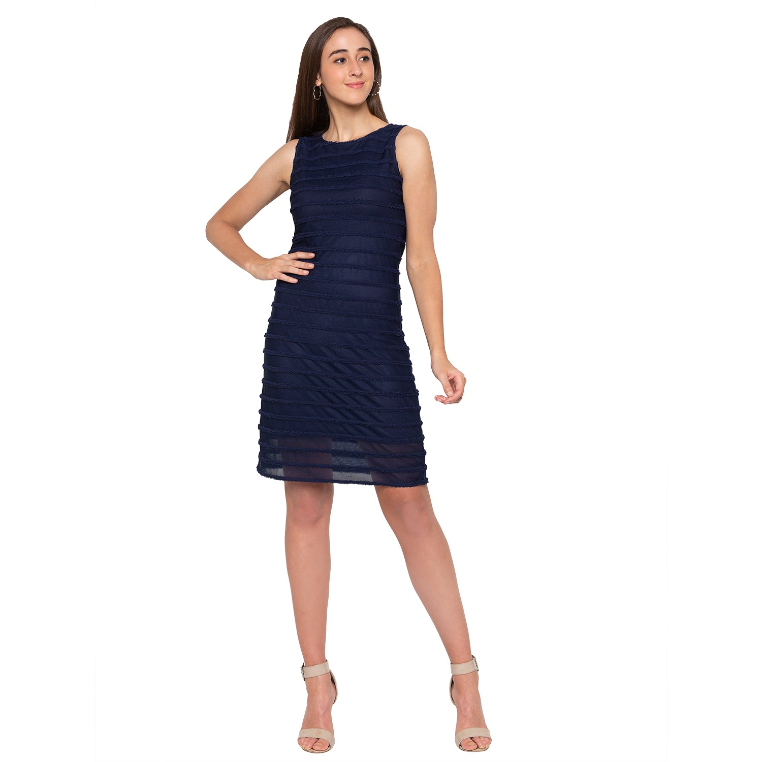 Navy Blue Self-Design Dress-1