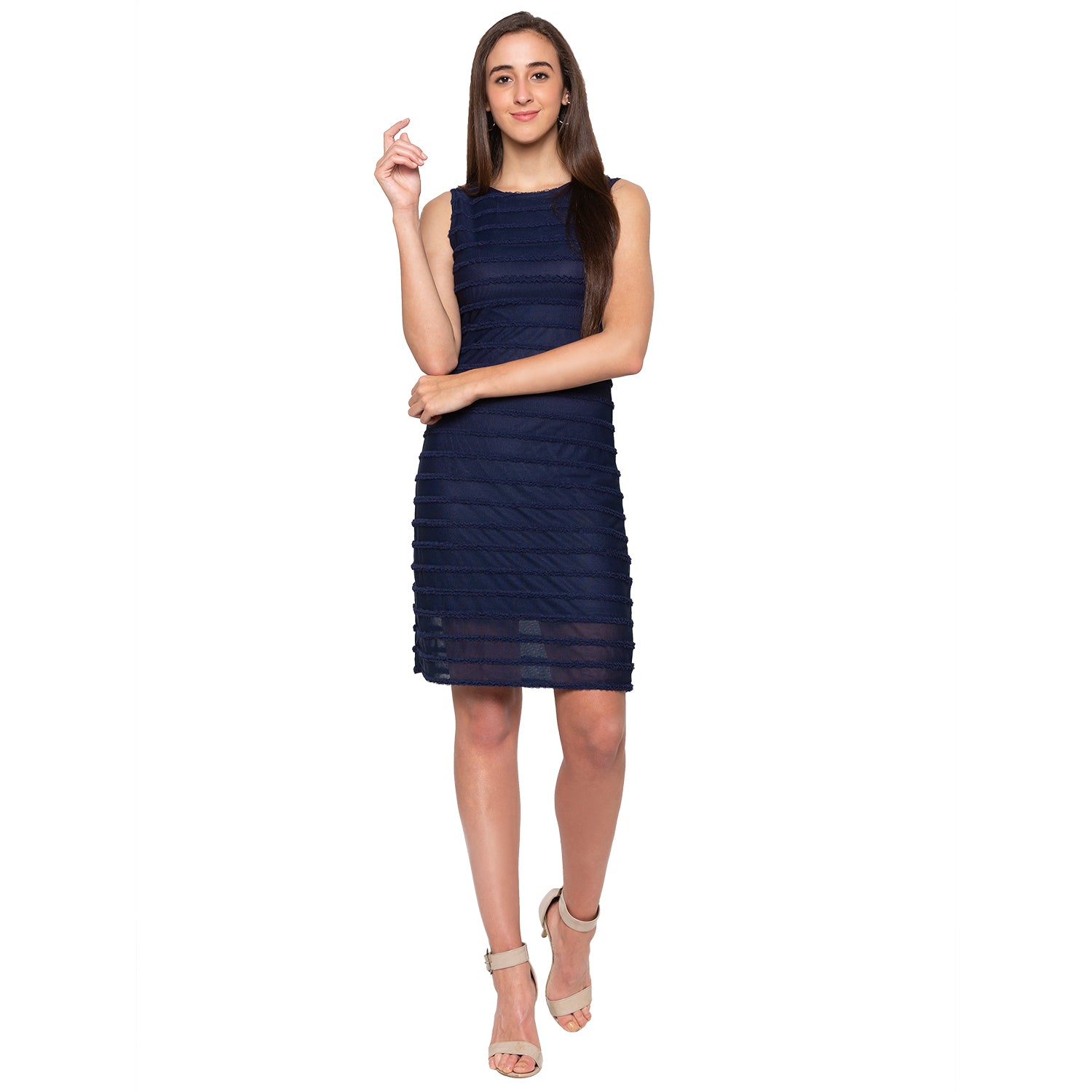 Navy Blue Self-Design Dress-4