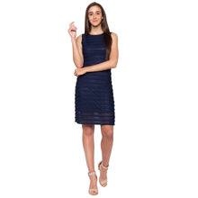 Load image into Gallery viewer, Navy Blue Self-Design Dress-4