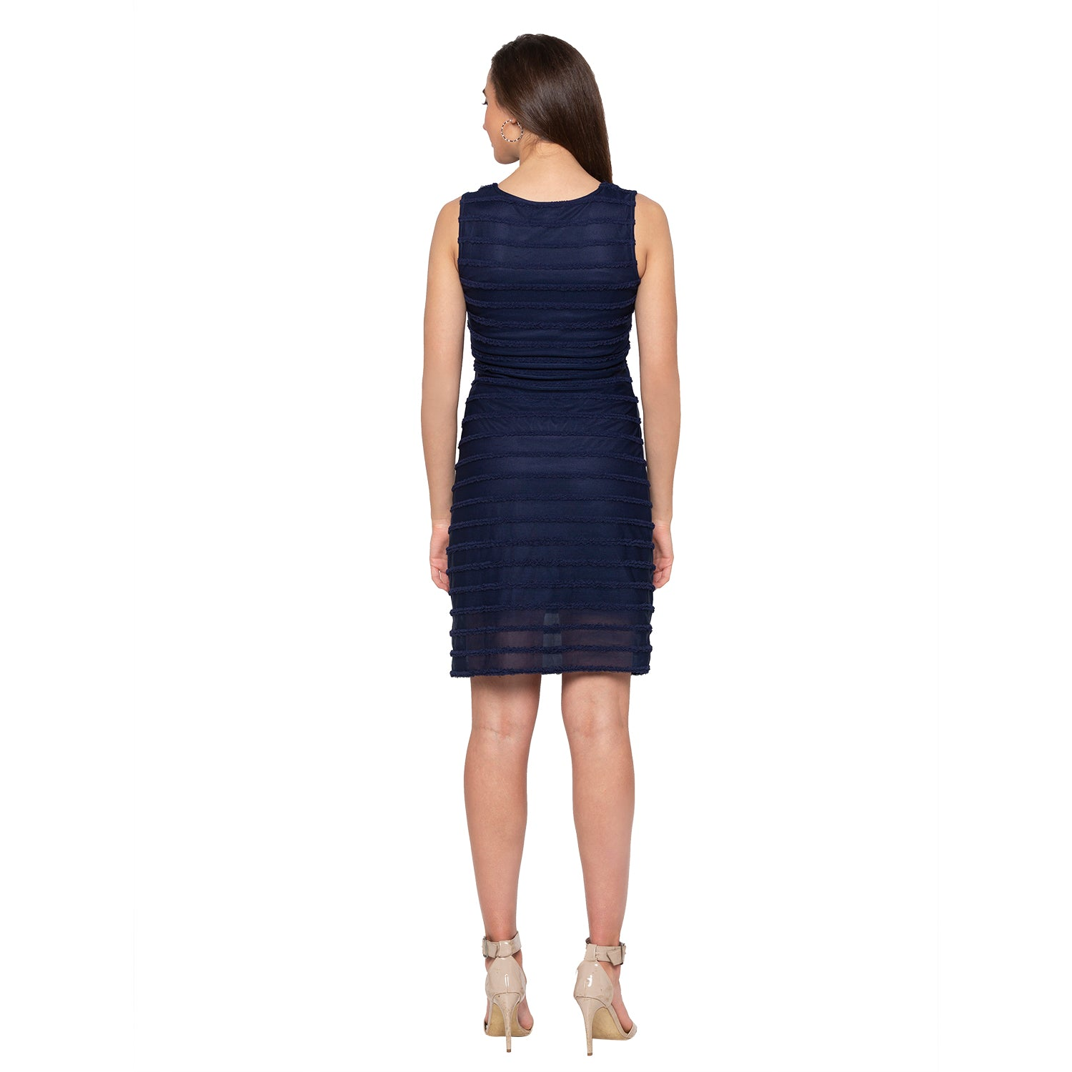 Navy Blue Self-Design Dress-3