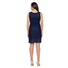 Load image into Gallery viewer, Navy Blue Self-Design Dress-3