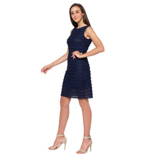 Load image into Gallery viewer, Navy Blue Self-Design Dress-2