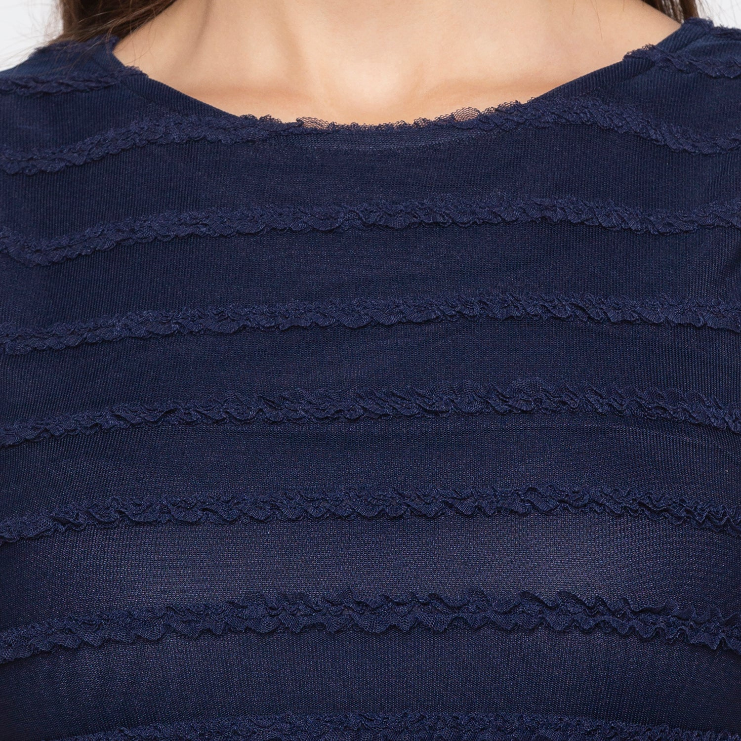 Navy Blue Self-Design Dress-5