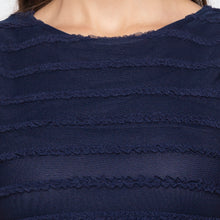 Load image into Gallery viewer, Navy Blue Self-Design Dress-5