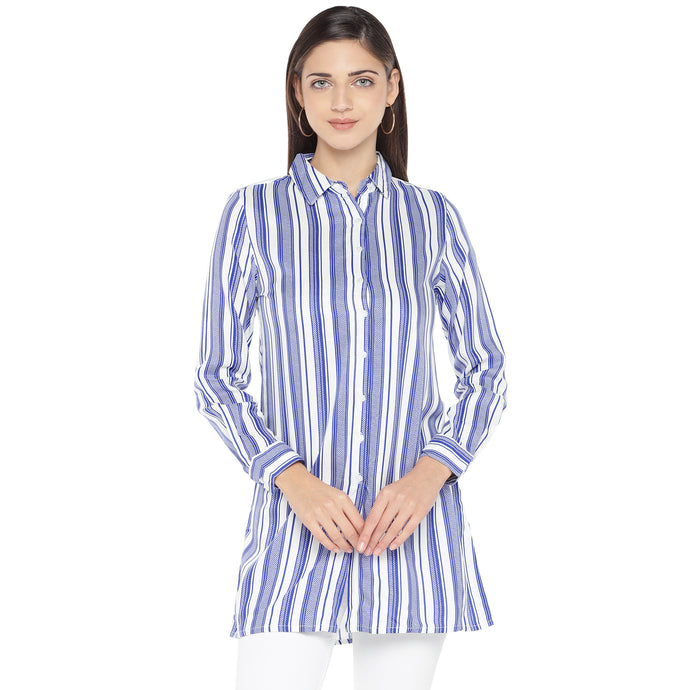 Blue Striped Shirt Style Top-1