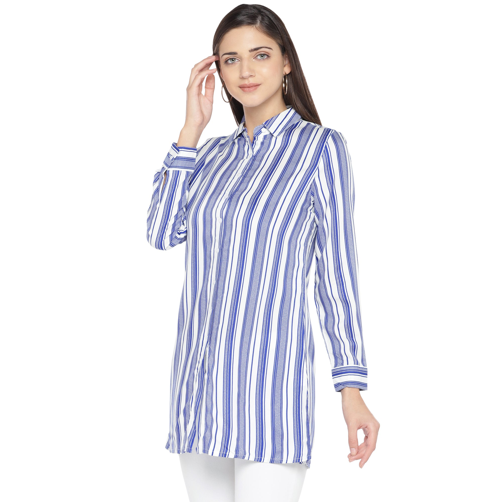 Blue Striped Shirt Style Top-2