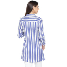 Load image into Gallery viewer, Blue Striped Shirt Style Top-3